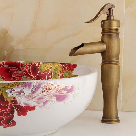 Robinet salle de bain style antique, finition laiton