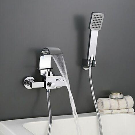 Robinet salle de bain style contemporain à fixation murale fini en chrome