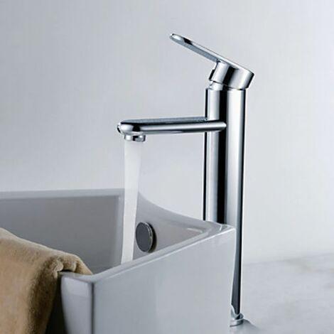 Robinet salle de bain surélevée, style contemporain muni d'une seule poignée et fini en chromé