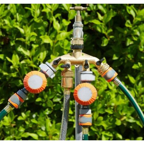 Robinet y Selecteur 4 Sorties Vannes, Connecteur de Robinet en Laiton Distributeur 4 Voies Séparateur de Tuyau Répartiteur pour l'irrigation du Jardin