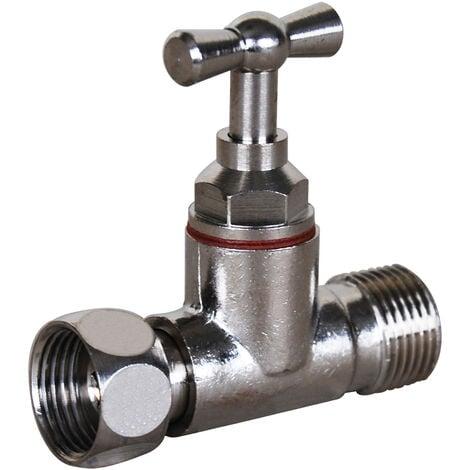 Robinets pour réservoir WC - Droit Nickelé - Male Femelle 12x17