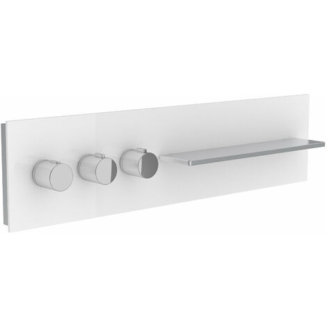 Robinetterie de salle de bains Keuco, 56163, tablette de douche et de bain avec mitigeur thermostatique DN 20, poignées à gauche, Coloris: anthracite, transparent - 56163011101