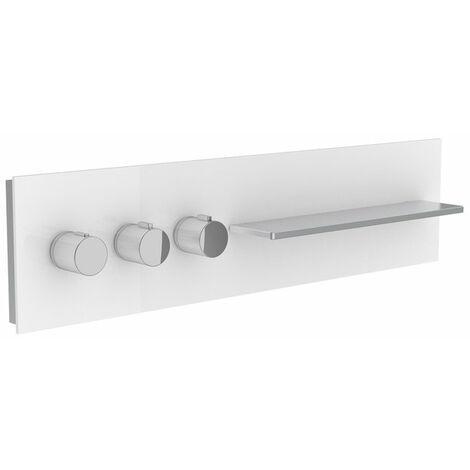 Robinetterie de salle de bains Keuco, 56163, tablette de douche et de bain avec mitigeur thermostatique DN 20, poignées à gauche, Coloris: Truffe, limpide - 56163011401