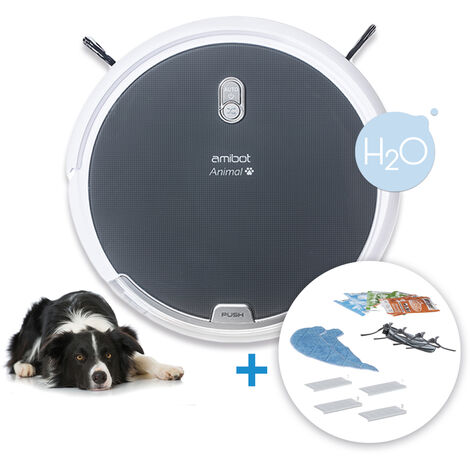 Robot aspirateur et laveur AMIBOT Animal Comfort H2O - Gris