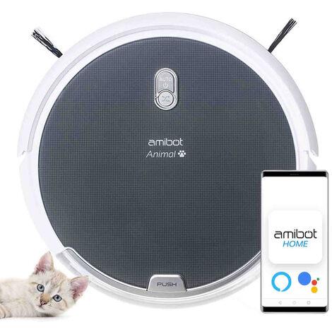 Robot aspirateur et laveur AMIBOT Animal H2O Connect - Gris