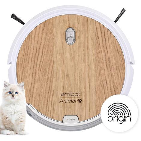 Robot aspirateur et laveur AMIBOT Animal Origin connecté à l'application mobile AMIBOT HOME - Marron