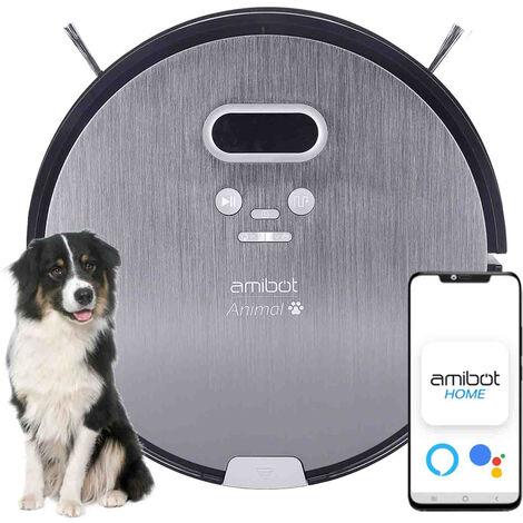 Robot aspirateur et laveur AMIBOT Animal Premium H2O Connect - Gris