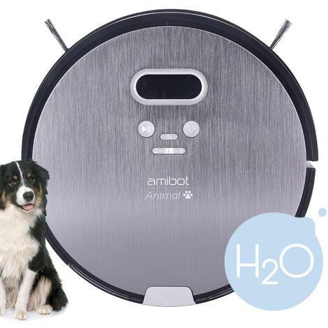 Robot aspirateur et laveur AMIBOT Animal Premium H2O - Gris