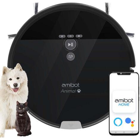 Robot aspirateur et laveur AMIBOT Animal XL H2O Connect spécial poils d'animaux de compagnie - Noir