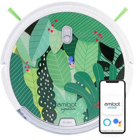 Robot aspirateur et laveur connecté AMIBOT Signature Edition Jungle - Green