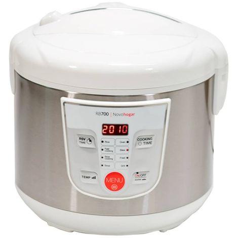 Robot de Cocina Multifunción RB700, Programable 24H. 5 Litros (10 Comensales). 8 Menús 8 Programas. Pantalla y Recetario