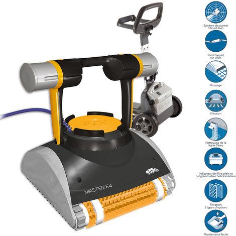robot électrique de piscine fond, parois et ligne d'eau avec chariot - master e4 - dolphin
