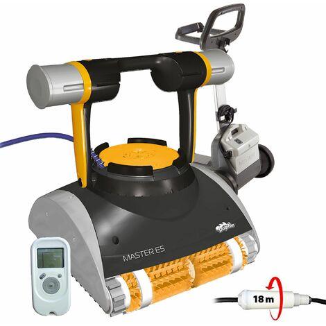 robot électrique de piscine fond, parois et ligne d'eau avec télécommande et chariot - master e5 - dolphin