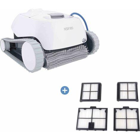 Robot piscine NOVARDEN NSR100 Dolphin + Cartouches de filtration 50 microns - Blanc