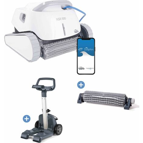 Robot piscine NOVARDEN NSR300 Connect Dolphin + chariot + brosse picots active - White