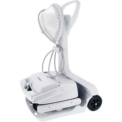 Robot piscine sur batterie NOVARDEN NSR250b Agil e-Control + chariot - Blanc