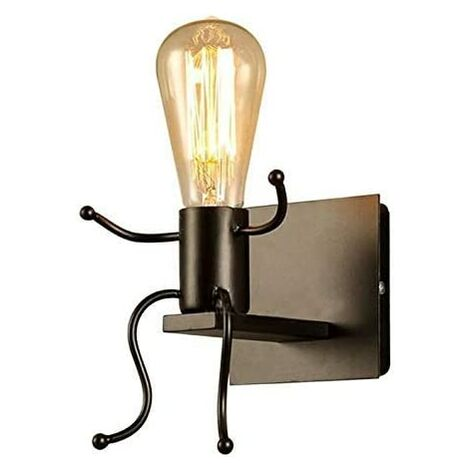 Robot Wall Light, Creative Black Wall Lamp Contemporary Style and Retro, Bedroom Wall Light Bedside Kids Room Stairway (Black)