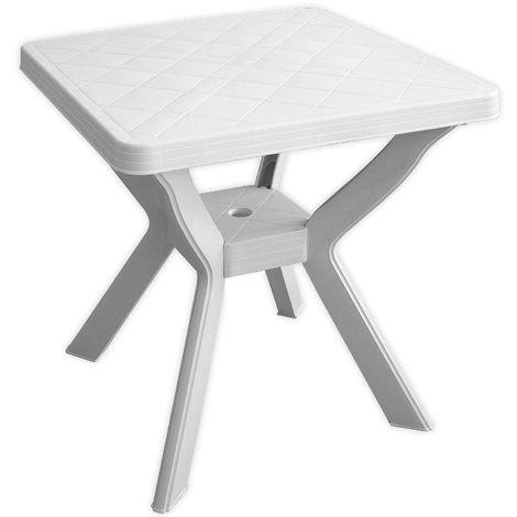 Robuster Gartentisch Campingtisch Beistelltisch 70x70cm Vollkunststoff Balkontisch Terrassentisch Kunststofftisch - Weiss