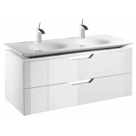Roca-8414329905571 Roca - Unik (mueble base y lavabo doble) - Serie Kalahari , Color Blanco lacado brillo