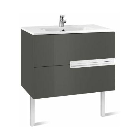 Roca-8414329937527 Roca - Unik (mueble base y lavabo) - 80 cm, Serie Victoria-N , Color Gris antracita