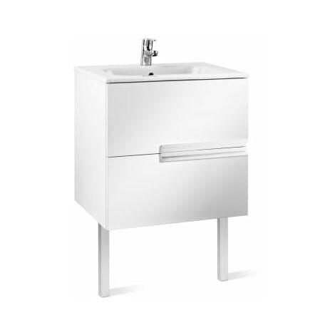 Roca-8414329937534 Roca - Unik (mueble base y lavabo) - 70 cm, Serie Victoria-N , Color Blanco brillo