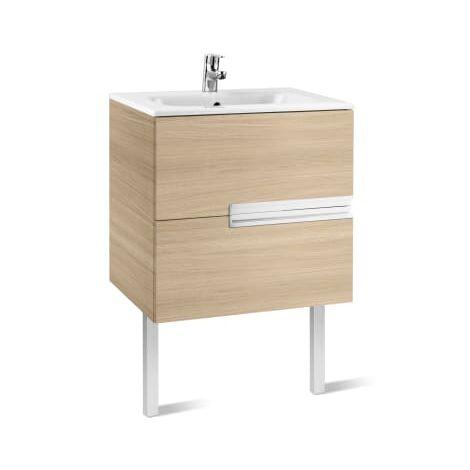 Roca-8414329937558 Roca - Unik (mueble base y lavabo) - 70 cm, Serie Victoria-N , Color Roble texturizado