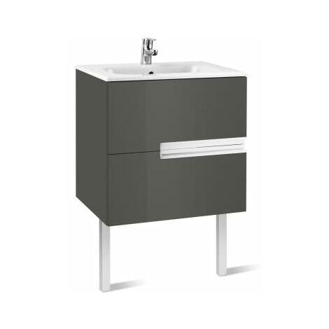 Roca-8414329937565 Roca - Unik (mueble base y lavabo) - 70 cm, Serie Victoria-N , Color Gris antracita