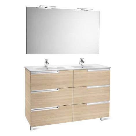 Roca-8414329938173 Roca - Pack Family (mueble base lavabo doble espejo y dos apliques) - 120 cm, Serie Victoria-N , Color Roble texturizado