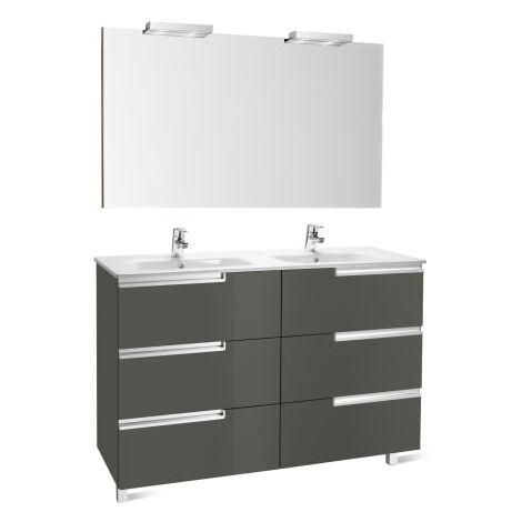 Roca-8414329938180 Roca - Pack Family (mueble base lavabo doble espejo y dos apliques) - 120 cm, Serie Victoria-N , Color Gris antracita