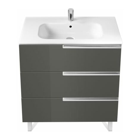 Roca-8414329938463 Roca - Unik Family (mueble base y lavabo) - 80 cm, Serie Victoria-N , Color Gris antracita