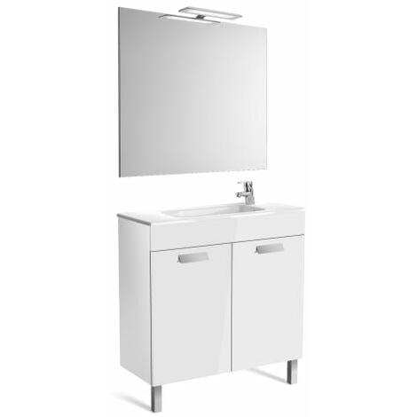 Roca-8433290302141 Roca - Pack (mueble base compacto con puertas lavabo espejo y aplique) - 80 cm, Serie Debba , Color Blanco brillo