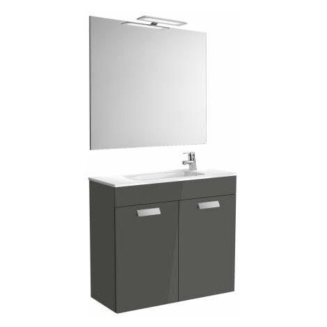 Roca-8433290302158 Roca - Pack (mueble base compacto con puertas lavabo espejo y aplique) - 80 cm, Serie Debba , Color Gris antracita