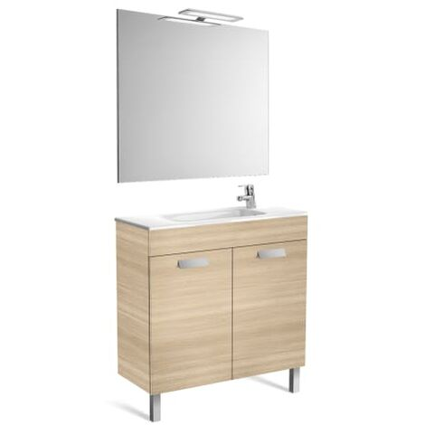 Roca-8433290302172 Roca - Pack (mueble base compacto con puertas lavabo espejo y aplique) - 80 cm, Serie Debba , Color Roble texturizado