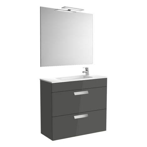 Roca-8433290302318 Roca - Pack (mueble base compacto con dos cajones lavabo espejo y aplique) - 80 cm, Serie Debba , Color Gris antracita