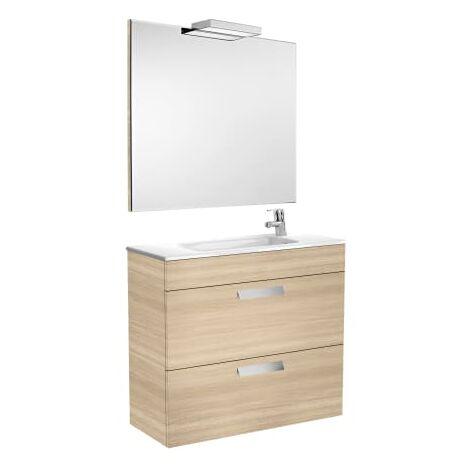 Roca-8433290302332 Roca - Pack (mueble base compacto con dos cajones lavabo espejo y aplique) - 80 cm, Serie Debba , Color Roble texturizado