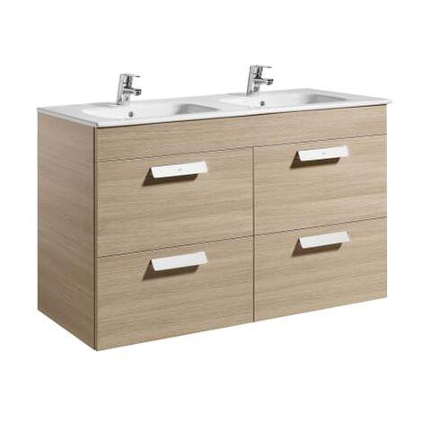 Roca-8433290317794 Roca - Unik (mueble base con cuatro cajones y lavabo doble) - 120 cm, Serie Debba , Color Roble texturizado