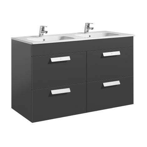 Roca-8433290317800 Roca - Unik (mueble base con cuatro cajones y lavabo doble) - 120 cm, Serie Debba , Color Gris antracita