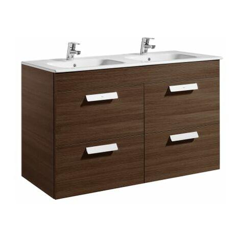 Roca-8433290317817 Roca - Unik (mueble base con cuatro cajones y lavabo doble) - 120 cm, Serie Debba , Color Wenge texturizado