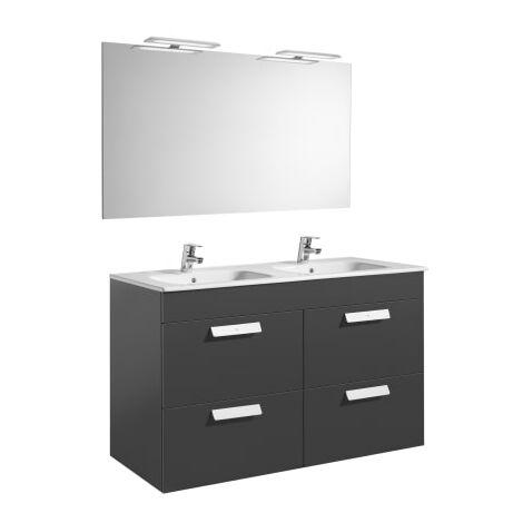 Roca-8433290323184 Roca - Pack (mueble base con cuatro cajones lavabo doble espejo y aplique LED) - 120 cm, Serie Debba , Color Gris antracita