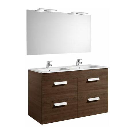 Roca-8433290323191 Roca - Pack (mueble base con cuatro cajones lavabo doble espejo y aplique LED) - 120 cm, Serie Debba , Color Wenge texturizado