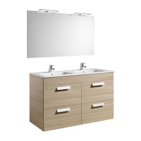 Roca-8433290323207 Roca - Pack (mueble base con cuatro cajones lavabo doble espejo y aplique LED) - 120 cm, Serie Debba , Color Roble texturizado