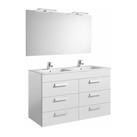 Roca-8433290323412 Roca - Pack (mueble base con seis cajones lavabo doble espejo y aplique LED) - 120 cm, Serie Debba , Color Blanco brillo