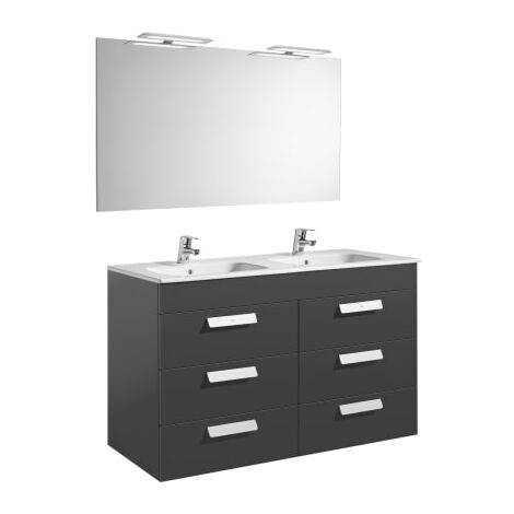 Roca-8433290323429 Roca - Pack (mueble base con seis cajones lavabo doble espejo y aplique LED) - 120 cm, Serie Debba , Color Gris antracita