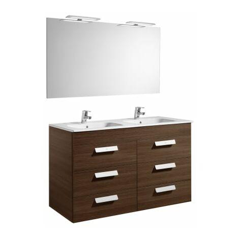 Roca-8433290323436 Roca - Pack (mueble base con seis cajones lavabo doble espejo y aplique LED) - 120 cm, Serie Debba , Color Wenge texturizado
