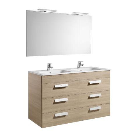 Roca-8433290323443 Roca - Pack (mueble base con seis cajones lavabo doble espejo y aplique LED) - 120 cm, Serie Debba , Color Roble texturizado