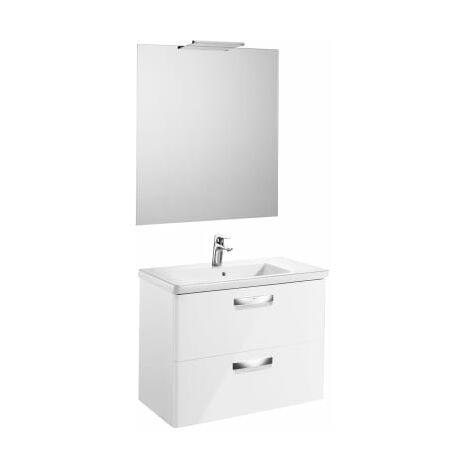 Roca-8433290395020 Roca - Pack (mueble base lavabo espejo y aplique Delight) - Serie The Gap , Color Blanco brillo