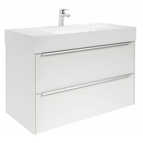Roca-8433290477412 Roca - Unik (mueble base y lavabo) - Serie Inspira, 2C, 100 cm, Color Blanco brillo