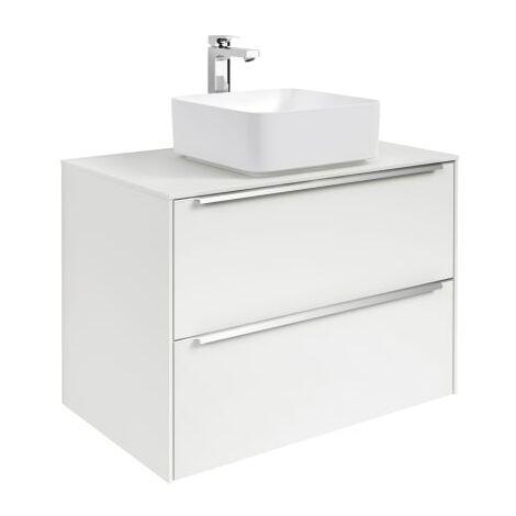 Roca-8433290479089 Roca - Mueble base para lavabo sobre encimera - Serie Inspira, 2C, 80 cm, Color Blanco brillo