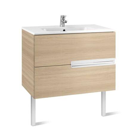 Roca-8433291101538 Roca - Unik (mueble base y lavabo) - 80 cm, Serie Victoria-N , Color Roble texturizado
