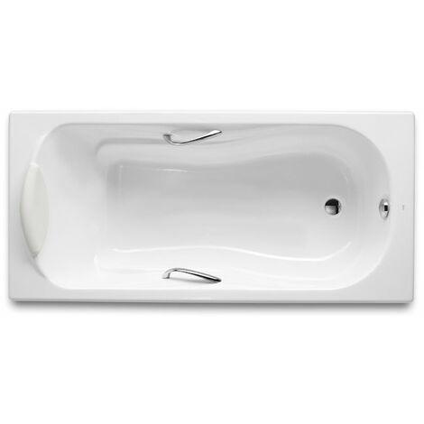 8414329329865 Roca - Bañera de fundición rectangular con fondo antideslizante y asas - Serie Haiti , Color Blanco